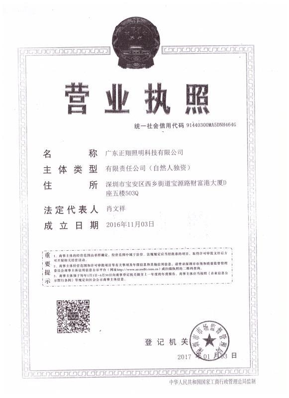 广东正翔照明科技有限公司