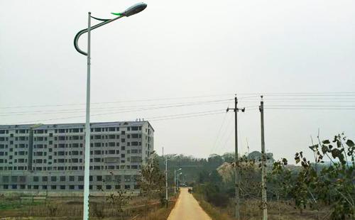 湖南衡阳市衡南县车江镇led路灯杆造型灯安装完毕