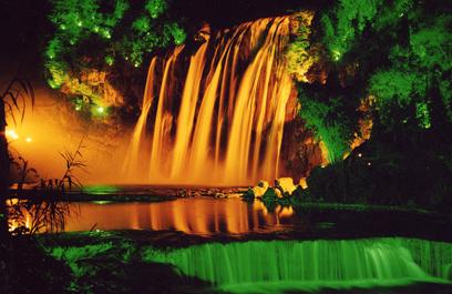 正翔照明黄果树瀑布项目 园林景观灯照明设计的完美呈现